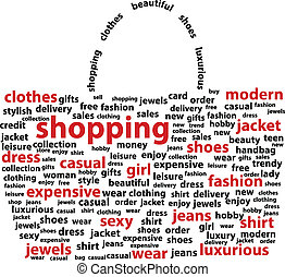 Shopping Bag - Shopping Words - Shape Of Shopping Bag