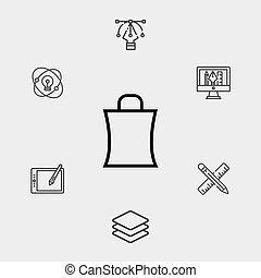 Shopping bag vector icon sign symbol