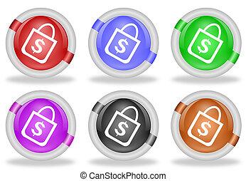 Shopping Bag Web Icon Button
