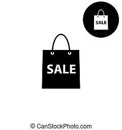 shopping bag  - white vector icon