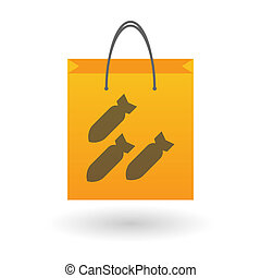 Shopping bag with a bomb icon