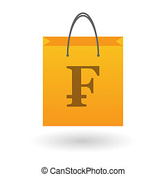 Shopping bag with a currency icon