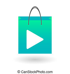 Shopping bag with a play sign