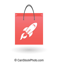 Shopping bag with a rocket