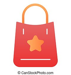Shopping bag with a star flat icon. Market bag color icons in trendy flat style. Shopping package gradient style design, designed for web and app. Eps 10.