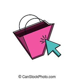 shopping bag with arrow cursor