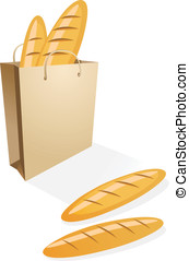 Shopping bag with bread on the white