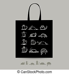 Shopping bag with cats for your design