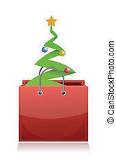 shopping bag with christmas tree inside illustration design