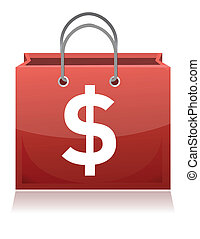 Shopping bag with dollar sign