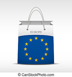 Shopping bag with flag Europe Union