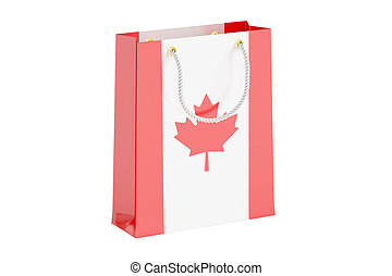 Shopping bag with flag of Canada, 3D rendering
