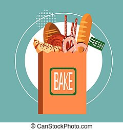 Shopping Bag With Fresh Bakery Pastry Cook Food