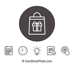 Shopping bag with Gift box line icon.
