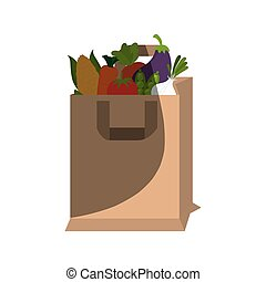 shopping bag with healthy food isolated icon