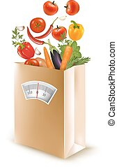 Shopping bag with healthy fruit and a scale. Concept of diet.