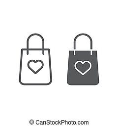 Shopping bag with heart line and glyph icon, package and gift, gift bag sign, vector graphics, a linear pattern on a white background.