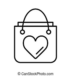 Shopping bag with heart line icon, outline vector sign, linear style pictogram isolated on white. Symbol, logo illustration.