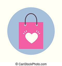 Shopping Bag With Heart Shape Icon On Blue Round Background Isolated