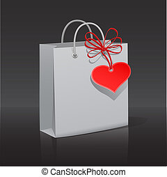Shopping bag with heart tag and red ribbon, vector illustration