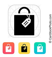 Shopping bag with label icon.