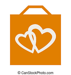 Shopping bag with love hearts