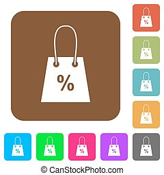 Shopping bag with percent sign rounded square flat icons