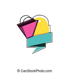 shopping bag with ribbon isolated icon