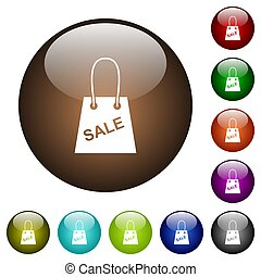 Shopping bag with sale text white icons on round glass buttons in multiple colors