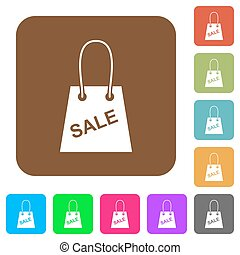 Shopping bag with sale text rounded square flat icons
