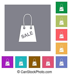 Shopping bag with sale text square flat icons
