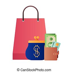 shopping bag with wallet isolated icon