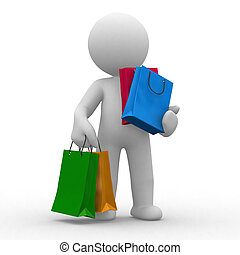 Shopping bags - 3d human carry many shopping bags