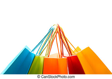 A shot of a bunch of colorful shopping bags