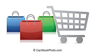 shopping bags and a shopping cart illustration design over a...