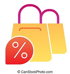 Shopping bags and discount flat icon. Promotion color icons in trendy flat style. Shop sale gradient style design, designed for web and app. Eps 10.