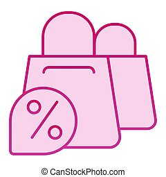 Shopping bags and discount flat icon. Promotion pink icons in trendy flat style. Shop sale gradient style design, designed for web and app. Eps 10.