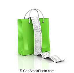 shopping bags and long Receipts Over White Background. 3d illustration