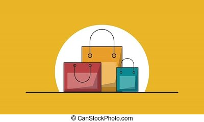 Shopping bags concept HD animation