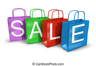 Shopping bags with the word sale on them representing the...