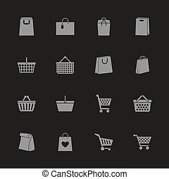 Shopping Bags - Flat Vector Icons