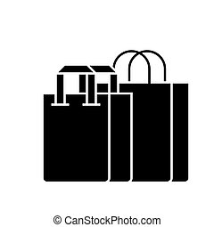 shopping bags icon, vector illustration, black sign on isolated background