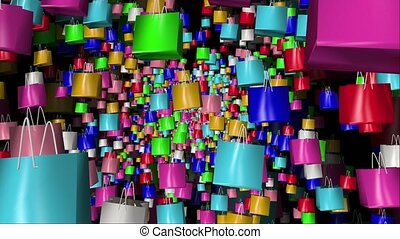 Shopping bags in different colors on black