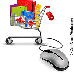 Shopping bags in shopping cart and computer mouse. Concept...
