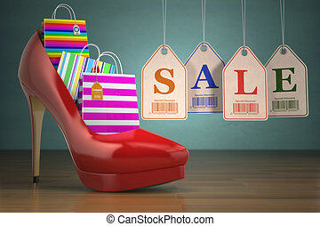 Shopping bags in women high heel shoes and labels sale. Concept of consumerism. 3d