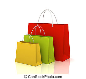 shopping bags isolated 3d illustration