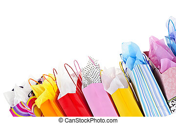 Shopping bags - Many colorful shopping bags on white ...