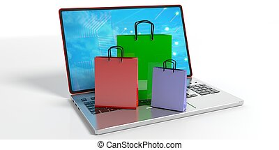 Shopping bags on a laptop. 3d illustration