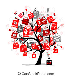 Shopping bags on tree for your design, big sale concept