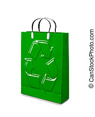 Shopping Bags opened  with recycling symbol